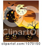 Clipart Cemetery And Jackolanterns Near A Haunted House Royalty Free Vector Illustration