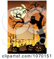 Clipart Blank Sign Hanging Above Jackolanterns On A Cemetery Tree Royalty Free Vector Illustration by visekart