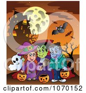 Clipart Trick Or Treaters Near A Haunted House Royalty Free Vector Illustration