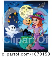 Clipart Ghost And Witch By A Haunted House Royalty Free Vector Illustration