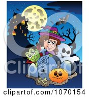 Clipart Vampire Witch And Ghosts By Tombstones And A Haunted House Royalty Free Vector Illustration