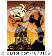 Clipart Owl And Jackolanterns Near A Haunted House Royalty Free Vector Illustration