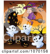Clipart Witch Ghosts And Jackolanterns Near A Haunted House Royalty Free Vector Illustration