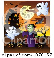 Clipart Vampire Ghosts And Jackolanterns Near A Haunted House Royalty Free Vector Illustration