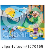 Clipart Man Fishing Royalty Free Vector Illustration by visekart