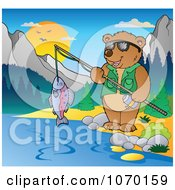 Clipart Bear Fishing Royalty Free Vector Illustration by visekart