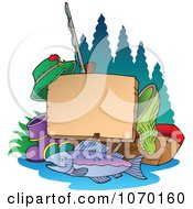 Clipart Fishing Post Sign With Gear Royalty Free Vector Illustration by visekart