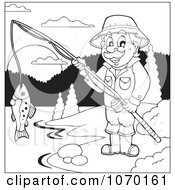 Clipart Outlined Man Fishing At A Lake Royalty Free Vector Illustration by visekart