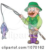 Clipart Man Holding His Catch On A Fishing Pole Royalty Free Vector Illustration