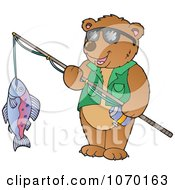 Clipart Bear Holding His Catch On A Fishing Pole Royalty Free Vector Illustration by visekart