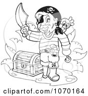 Clipart Outlined Pirate With A Treasure Chest Royalty Free Vector Illustration