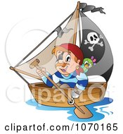 Clipart Pirate Rowing A Boat Royalty Free Vector Illustration