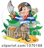 Clipart Pirate Claiming Discovered Treasure Royalty Free Vector Illustration