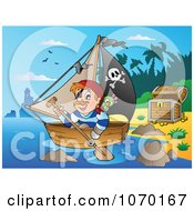 Clipart Pirate Rowing Away From A Beach With Treasure Royalty Free Vector Illustration