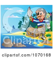Clipart Pirate On A Beach With Treasure Royalty Free Vector Illustration