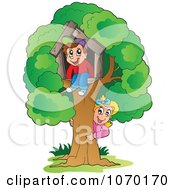 Clipart Kids Playing At Their Tree House Royalty Free Vector Illustration by visekart