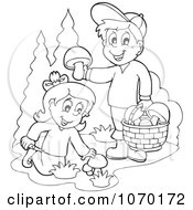 Clipart Outlined Kids Picking Mushrooms Royalty Free Vector Illustration