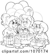 Clipart Outlined Birthday Boy Blowing Out His Candles Royalty Free Vector Illustration