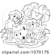 Clipart Outlined Kids Building A Sand Castle Royalty Free Vector Illustration by visekart