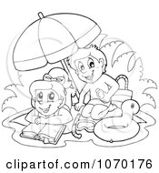 Clipart Outlined Kids Reading And Playing On A Beach Royalty Free Vector Illustration