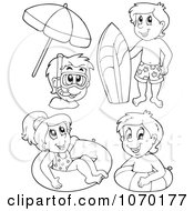 Clipart Outlined Kids With Summer Swimming Gear Royalty Free Vector Illustration