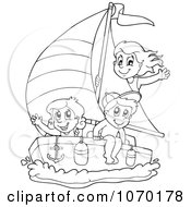 Clipart Outlined Kids Sailing Royalty Free Vector Illustration by visekart
