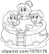 Clipart Outlined Kids In A Swimming Pool Royalty Free Vector Illustration