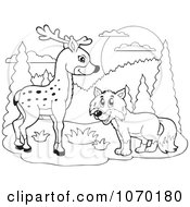 Clipart Outlined Deer And Fox Royalty Free Vector Illustration by visekart