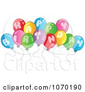 Clipart Happy Birthday Balloons Royalty Free Vector Illustration