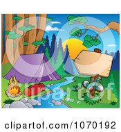 Clipart Blank Sign Across The Stream From A Camp Site Royalty Free Vector Illustration