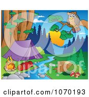 Clipart Owl Overlooking A Camp Site By A Stream Royalty Free Vector Illustration
