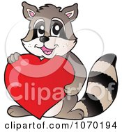 Clipart Raccoon Holding A Red Heart Royalty Free Vector Illustration by visekart