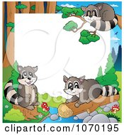 Clipart Raccoon And Forest Frame Royalty Free Vector Illustration by visekart