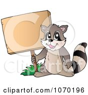 Clipart Raccoon Holding A Sign Royalty Free Vector Illustration by visekart