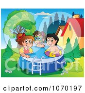 Clipart Kids Playing In A Swimming Pool Royalty Free Vector Illustration