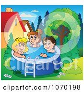 Clipart Children Playing In A Swimming Pool Royalty Free Vector Illustration