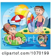 Clipart Summer Kids With A Surfboard Innertube And Snorkel Gear Royalty Free Vector Illustration