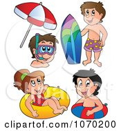 Clipart Swimming Children With A Snowboard Snorkel Gear And Inner Tubes Royalty Free Vector Illustration