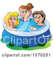 Clipart Summer Kids In A Swimming Pool Royalty Free Vector Illustration by visekart