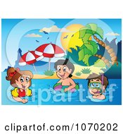Clipart Kids Swimming Near A Tropical Beach Royalty Free Vector Illustration