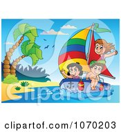 Clipart Kids Sailing By A Tropical Beach Royalty Free Vector Illustration
