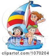 Clipart Summer Kids Sailing Royalty Free Vector Illustration by visekart