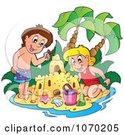 Clipart Children Making A Sand Castle - Royalty Free Vector Illustration