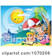 Clipart Dolphin Near Children Applying Sunblock On A Beach Royalty Free Vector Illustration