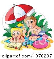 Clipart Boy Applying Sun Block On A Girl At The Beach - Royalty Free Vector Illustration