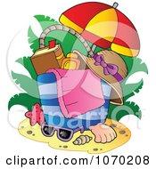 Clipart Umbrella Over A Beach Bag - Royalty Free Vector Illustration