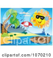 Clipart Sun Over A Boat And Tropical Beach Royalty Free Vector Illustration