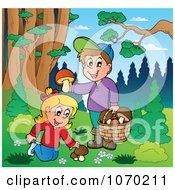 Clipart Children Picking Mushrooms Outdoors Royalty Free Vector Illustration