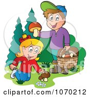 Clipart Two Kids Picking Mushrooms Royalty Free Vector Illustration
