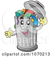 Clipart Trash Can Character Royalty Free Vector Illustration by visekart